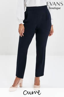 Evans Curve Navy Pull-On Tapered Trousers