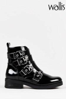 Wallis Adler Black Patent Buckle Biker Boots