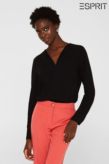 Esprit Black Elegant Long Sleeve Blouse