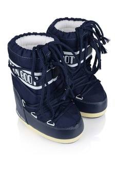 Kids Navy Nylon Snow Boots