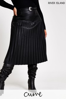 River Island Black Belted Pleat Midi Skirt