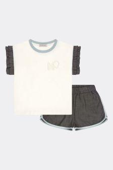 Moncler Enfant Girls White Cotton Set