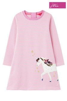 Joules Purple Rosalee Long Sleeve Appliqué Dress