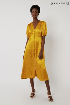 Warehouse Yellow Satin Jacquard Midi Tea Dress