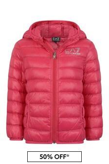 EA7 Emporio Armani Girls Fuchsia Down Padded Coat