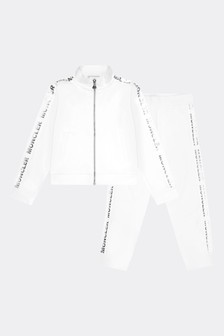 Moncler Enfant Girls White Cotton Tracksuit