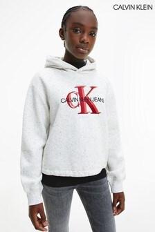 Calvin Klein Grey Overlapping Monogram Boxy Hoodie