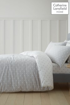 Catherine Lansfield Grey Dotty Brushed Cotton Duvet Cover and Pillowcase Set