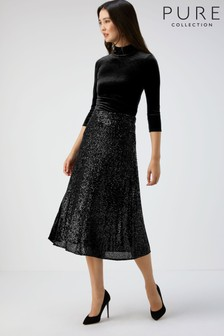 Pure Collection Black Sequin Midi Skirt