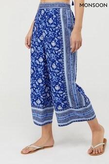Monsoon Blue Billie Print Trousers