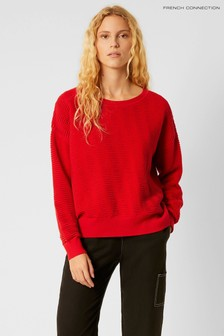 French Connection Red Mozart Knit Slash Neck Cropped Jumper