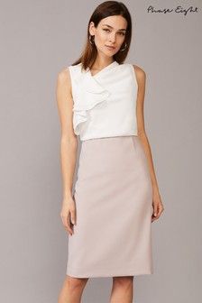 Phase Eight Cream Meave Frill Dress