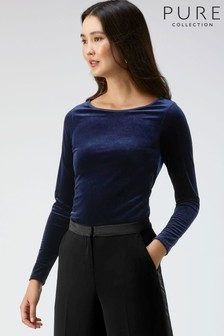 Pure Collection Blue Velour Boat Neck Top