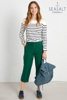 Seasalt Petite Green Brawn Point Crop Trousers