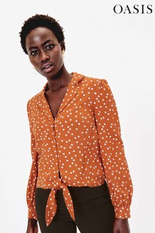Oasis Brown Spot Tie Front Shirt