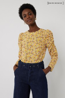 Warehouse Yellow Ditsy Floral Puff Sleeve Top