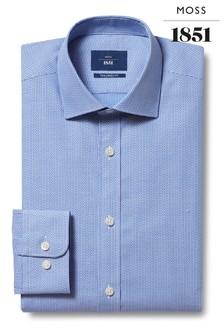 Niebieska dopasowana koszula z pojedynczymi mankietami Moss 1851