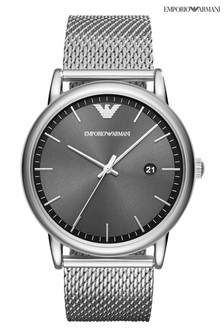 Emporio Armani Mens Silver Tone Luigi Mesh Strap Watch