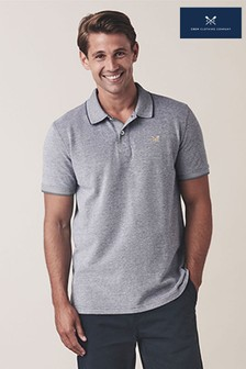 Crew Clothing Blue Oxford Tipped Poloshirt
