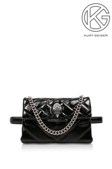 Kurt Geiger London Patent Kensington Black Evening Bag