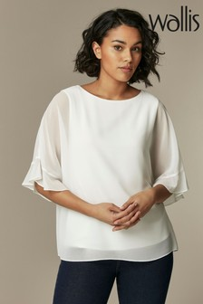 Wallis White V-Neck Frill Overlayer Shirt