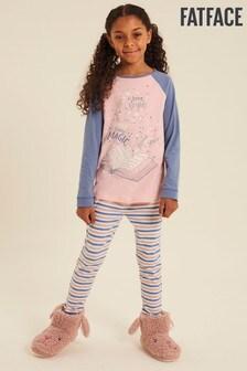 FatFace Pink Storybook Graphic Jersey Pyjama Set