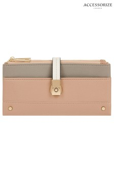 Accessorize Pink Colourblock Flip Lock Wallet