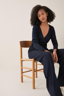 Tie Waist Jersey Ribbed Jumpsuit