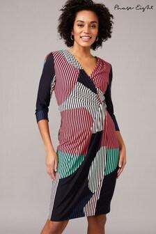 Phase Eight Multi Safiya Spot And Stripe Print Wrap Dress