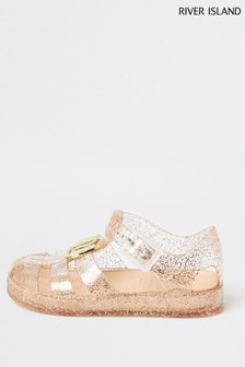 River Island Gold Glitter Caged Jelly Sandals