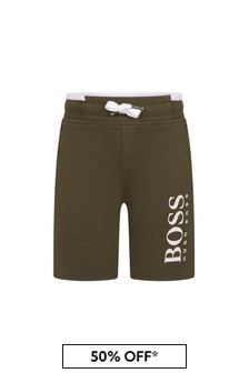 Boss Kidswear Boys Green Cotton Shorts