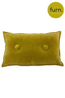 Furn Yellow Bobble Velvet Cushion