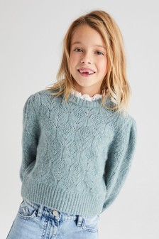 Pointelle Jumper With Collar (3-16yrs)