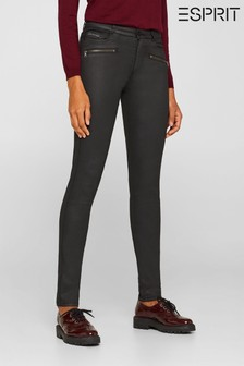 Esprit Black Coated Skinny Fit Trousers