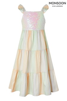 Monsoon Yellow Sunset Sequin Jacquard Tier Maxi Dress