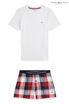 Tommy Hilfiger White Plaid Pyjama Set