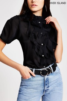 River Island White Front Frill Blouse