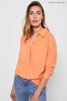 Mint Velvet Orange Oversized Pocket Linen Shirt