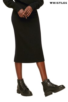 Whistles Black Annie Sparkle Knit Skirt