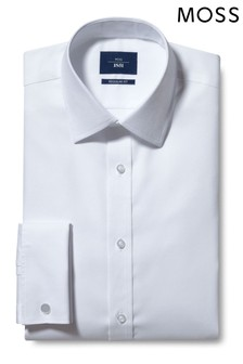 Moss 1851 Regular Fit White Double Cuff Textured Shirt