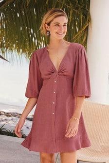 Linen Blend Twist Mini Dress
