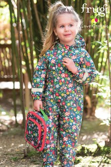 Frugi Recycled Fibre All-In-One Suit In Floral Rabbit Print