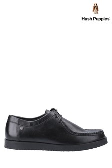 Hush Puppies Black Will Wallabee Lace-Up Shoes