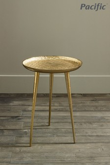 Pacific Gold Metal Embossed Tripod Table