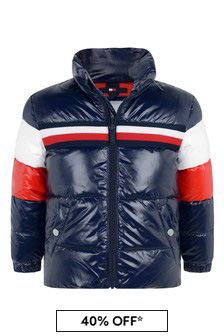 Girls Navy Colourblock Padded Jacket