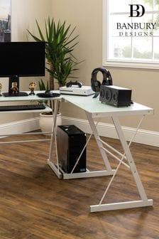 Walker Edison White 51 Modern Metal Glass Corner Computer Desk