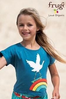 Frugi GOTS Organic Navy T-Shirt With A Rainbow And Crane