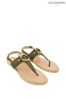 Accessorize Green Ring Detail Sandals