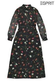 Esprit Womens Black Long Sleeve Floral Maxi Dress