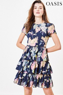 Oasis Blue Blossom Floral Tiered Dress